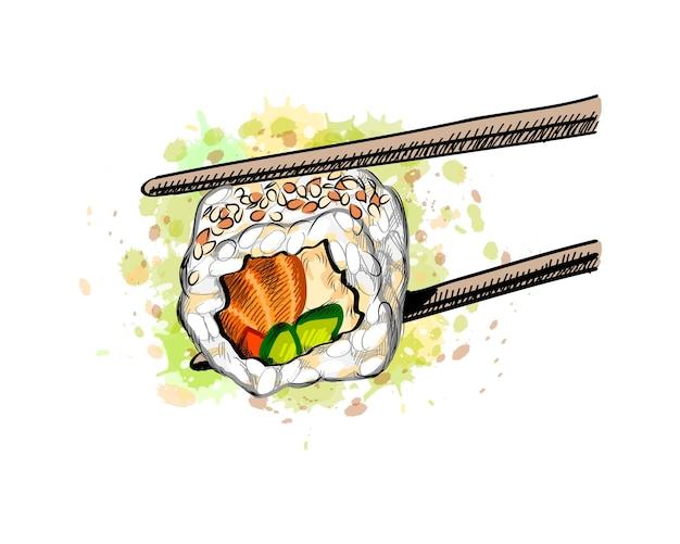 Gunkan Sushi Z łososiem I Ogórkiem Z Odrobiną Akwareli, Ręcznie Rysowane Szkic. Ilustracja Farb Premium Wektorów