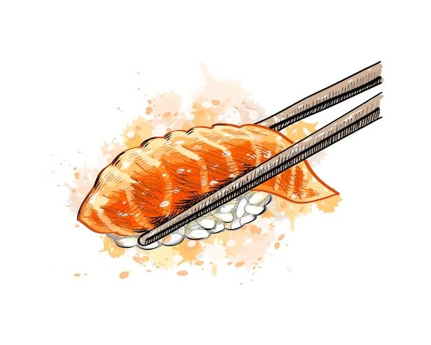 Gunkan Sushi Z łososiem Z Odrobiną Akwareli, Ręcznie Rysowane Szkic. Ilustracja Farb Premium Wektorów