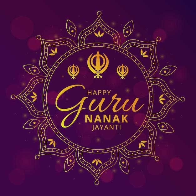 Guru Nanak Jayanti Ilustracja Z Mandalą Darmowych Wektorów
