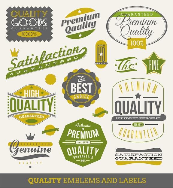 Gwarancja I Jakość - Znaki, Emblematy I Etykiety. Ilustracja. Premium Wektorów