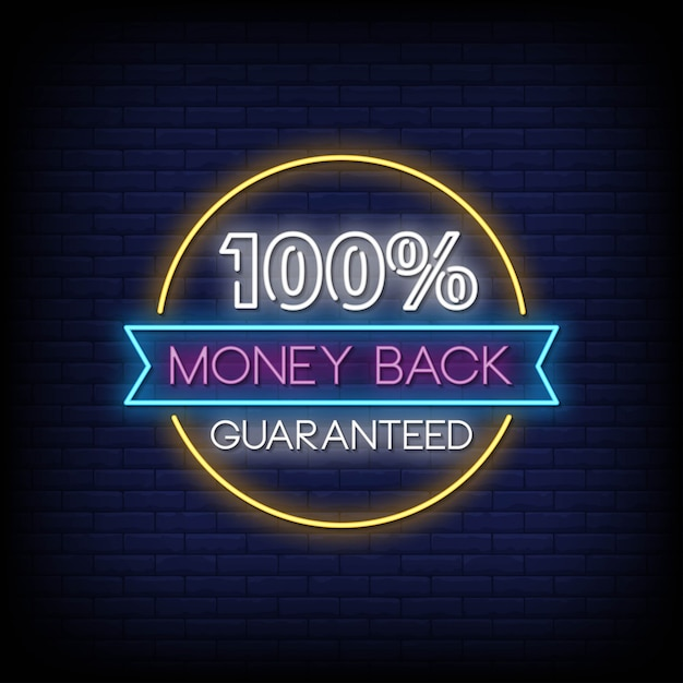 Gwarancja Zwrotu Pieniędzy W 100% Neonowe Znaki Tekstowe W Stylu Wektorowym Premium Wektorów