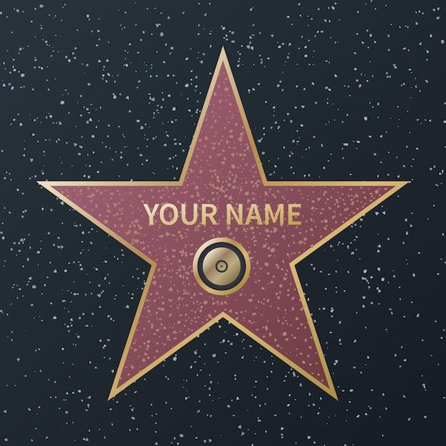 Gwiazda Hollywood Walk Of Fame. Film Celebrity Boulevard Award, Granitowe Gwiazdy Uliczne Znanych Aktorów Filmów Sukcesu, Image Premium Wektorów