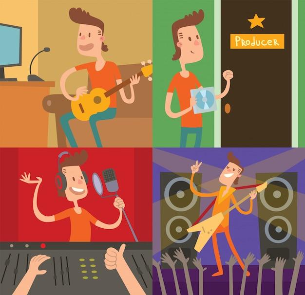 Gwiazda Muzyki Pop Młody Chłopiec Sukces Ilustracji Wektorowych Premium Wektorów