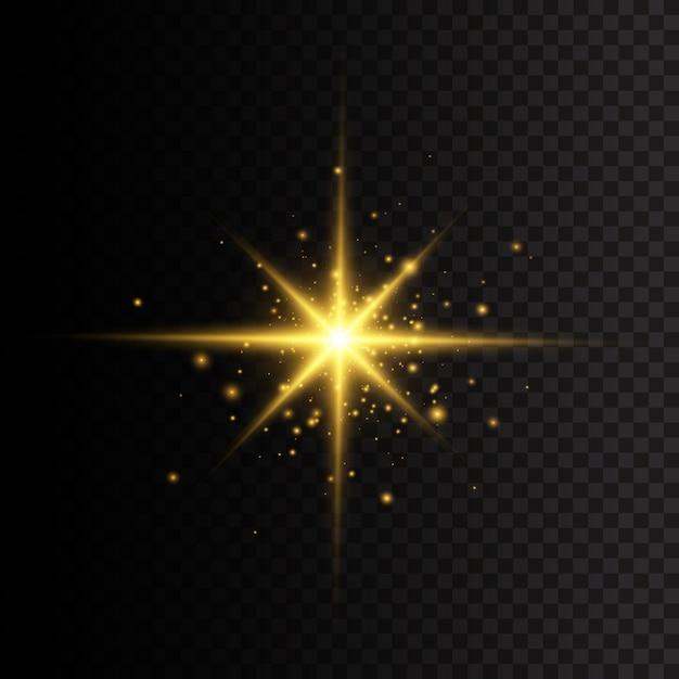 Gwiazda Rozbłysła Blaskiem. żółta świecąca Gwiazda światła. Błysk Słońca Z Promieniami I światłem Reflektorów. Premium Wektorów
