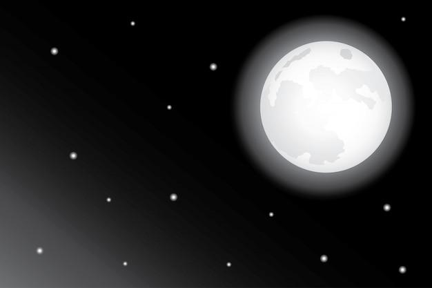 Gwiazdy i księżyc na nocnym niebie tło Premium Wektorów