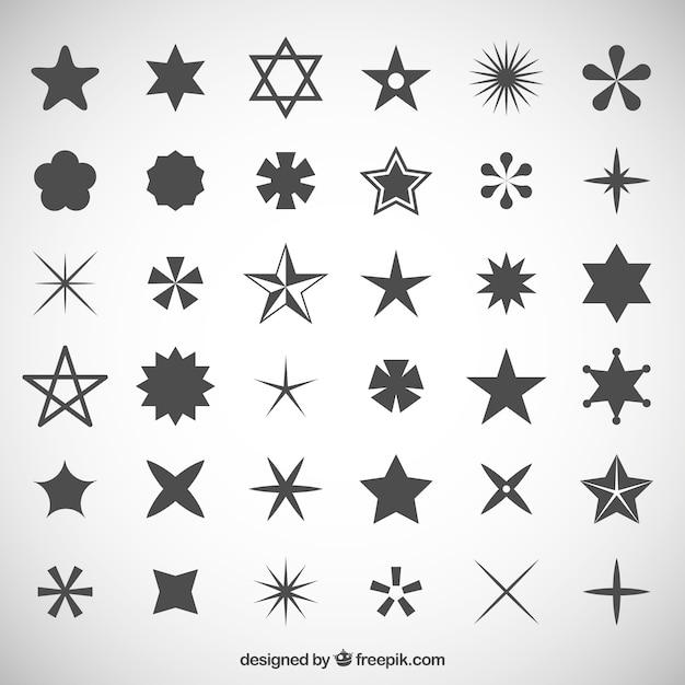 Gwiezdne ikony kolekcji Darmowych Wektorów