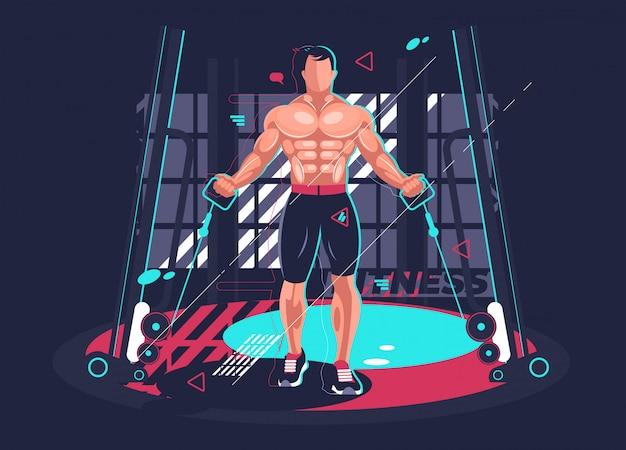 Gym Fitness Z Silnym Mężczyzną. Ilustracji Wektorowych Premium Wektorów