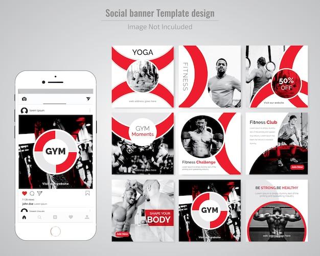 Gym, gymnesium & yoga social media post template Premium Wektorów