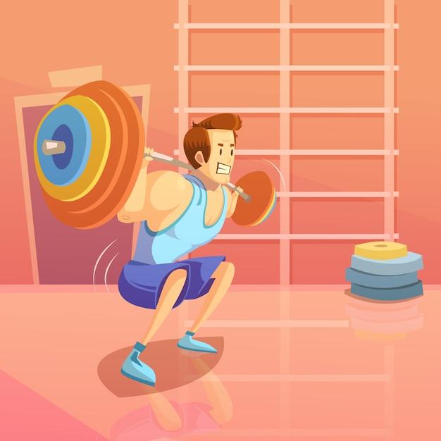 Gym i weightlifting tło z mężczyzna podnosi barbell Darmowych Wektorów