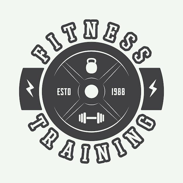Gym logo w stylu vintage. Premium Wektorów