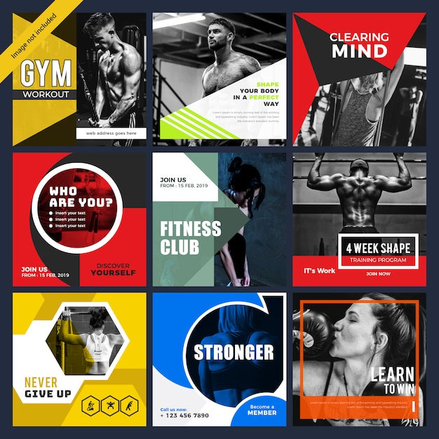 Gymnesium & Fitness Social Media Post Template Premium Wektorów