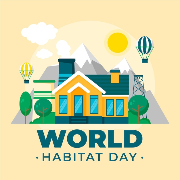 Habitat Day W Płaskiej Konstrukcji Darmowych Wektorów