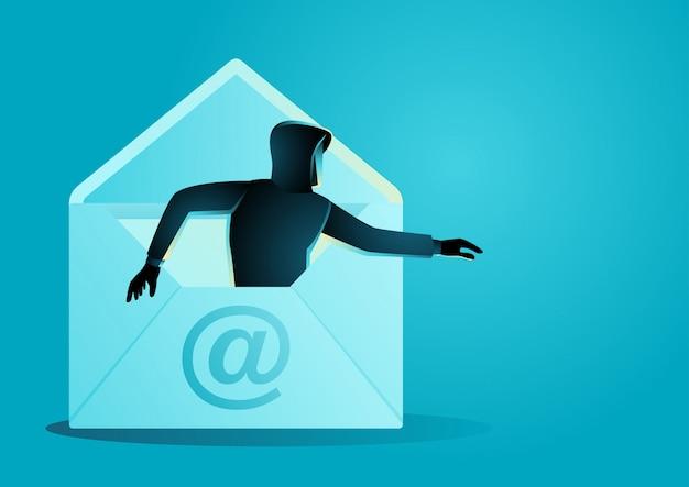 Hacker Wychodzi Z Koperty Premium Wektorów