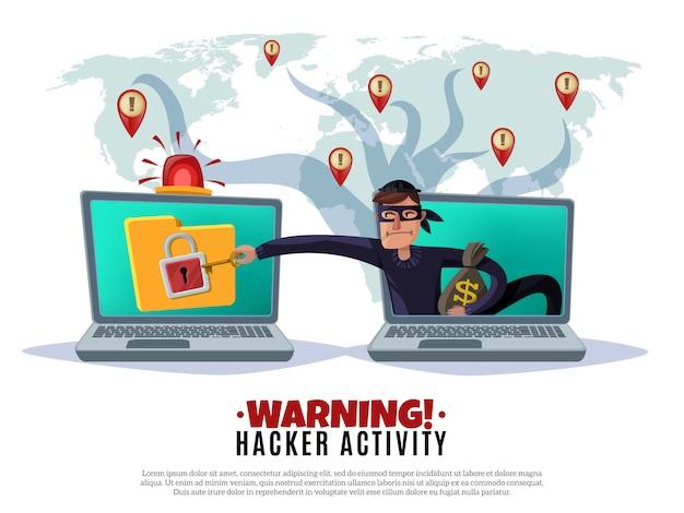 Hackera Aktywności Kreskówki Horyzontalna Ilustracja Darmowych Wektorów