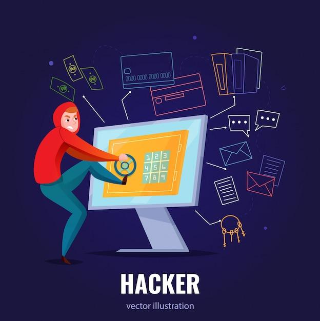 Hackera Bezpieczna Kompozycja Z Mężczyzną W Bluzie Z Kapturem Włamuje Się Do Komputera I Wspina Się Wewnątrz Ilustracji Darmowych Wektorów