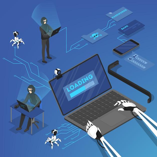 Haker Atakuje Dane Osobowe W Internecie Za Pomocą Komputera. Cyberprzestępca. Ilustracja Izometryczna Premium Wektorów