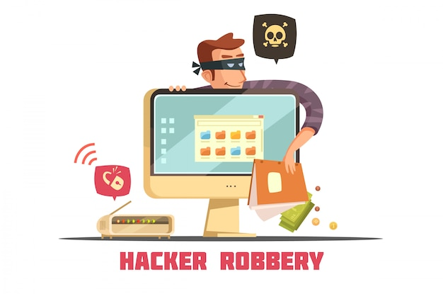Haker komputerowy łamiący kod zabezpieczający w celu uzyskania dostępu do konta bankowego i kradzieży pieniędzy Darmowych Wektorów