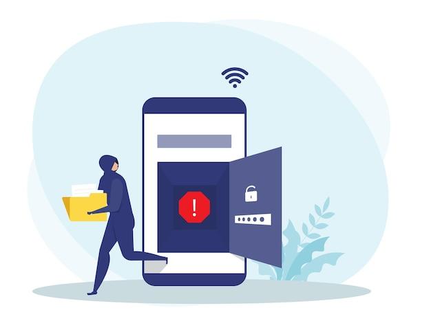 Haker Lub Kryminalista W Kolorze Czarnym Kradną Dane Lub Tożsamość Na Telefon Komórkowy Premium Wektorów