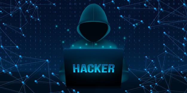 Haker z kapturem, ciemno zasłoniętą twarzą, komputer przenośny. Premium Wektorów