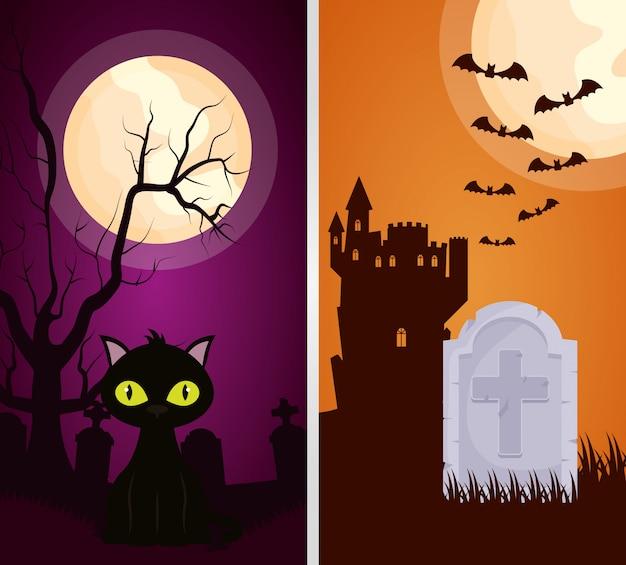 Halloween ciemny zamek z kotem Darmowych Wektorów