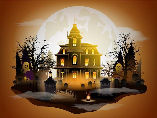 Halloween Ciemny Zamek Premium Wektorów