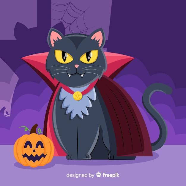 Halloween czarny kot o płaskiej konstrukcji Darmowych Wektorów