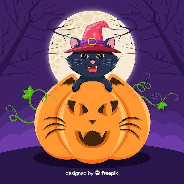 Halloween czarny kot w dyni z pełni księżyca Darmowych Wektorów