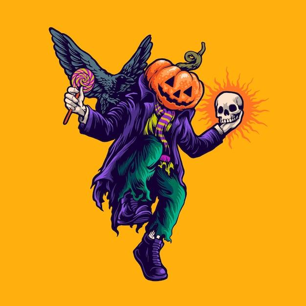 Halloween Dancing Illustration Premium Wektorów