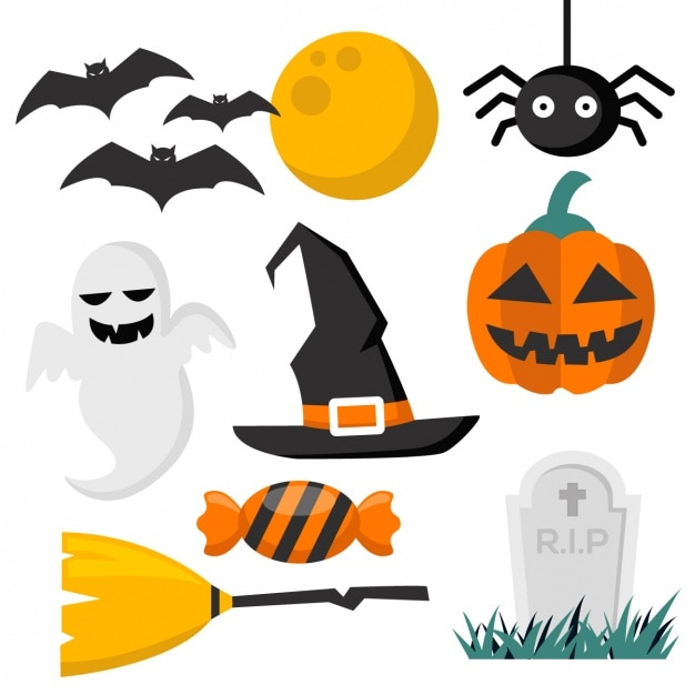 Halloween Elementów Kolekcji Darmowych Wektorów