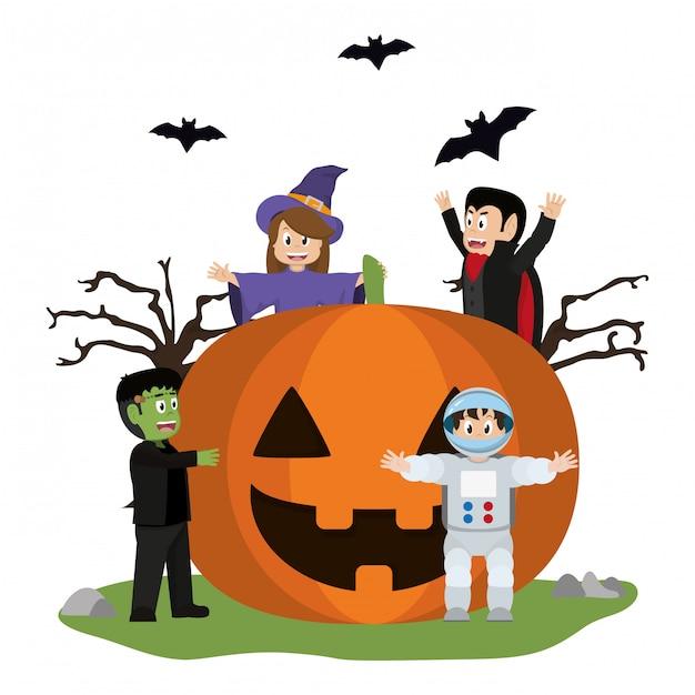 Halloween i dzieci Premium Wektorów