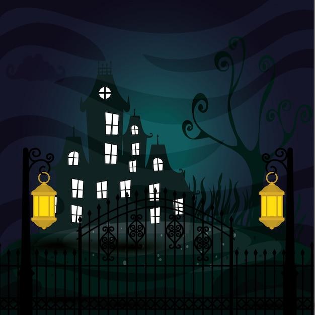 Halloween Nawiedzał Kasztel W Ciemnej Nocy Ilustraci Premium Wektorów