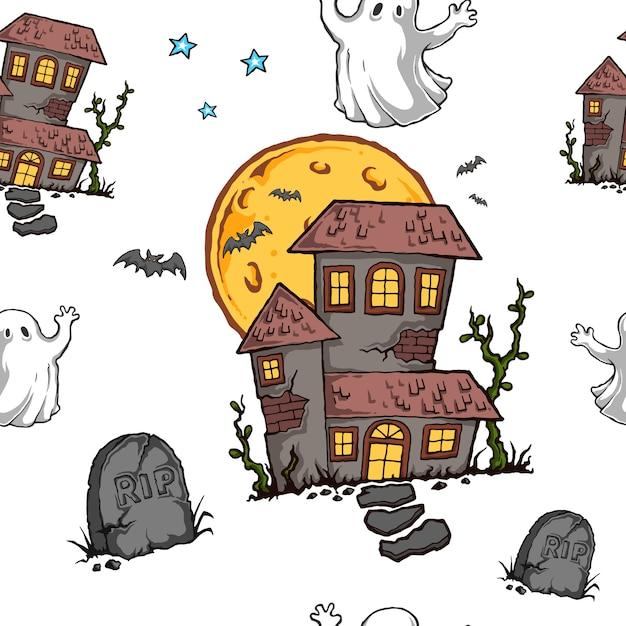 Halloween Nawiedzony Dom Szwu Premium Wektorów