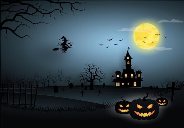 Halloween Niebieski Szablon W Widoku Nocnego Nieba Z Czarownicą, Dynią, Zamkiem I Pełni Księżyca. Premium Wektorów