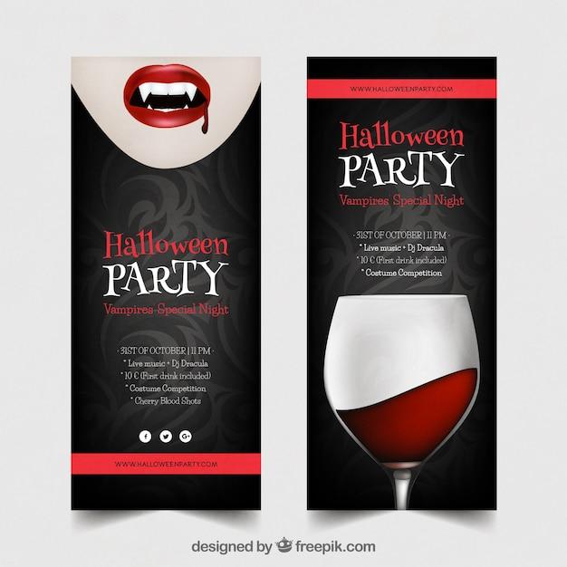 Halloween party banery z wampirem i napojów Darmowych Wektorów