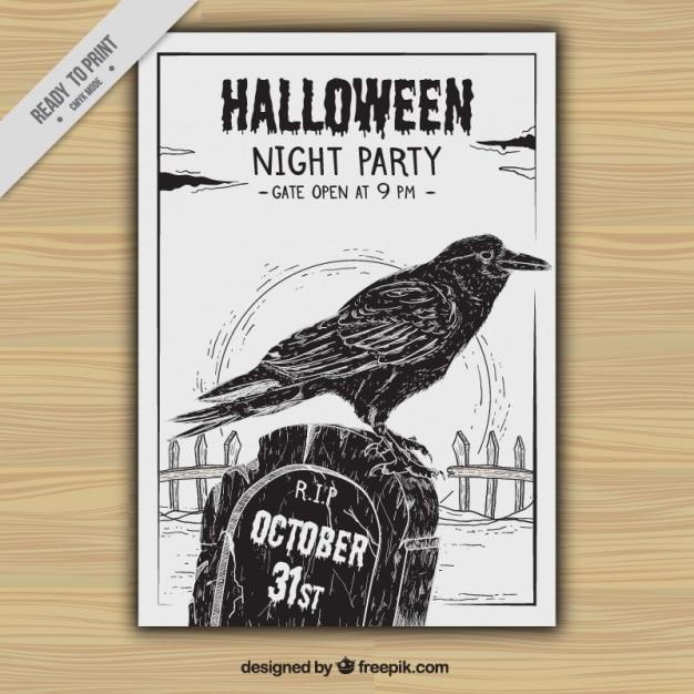 Halloween party flyer z wrony i wyciągnąć rękę grobu Darmowych Wektorów