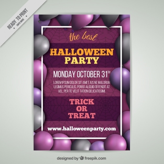 Halloween Party Plakat Z Balonami Darmowych Wektorów