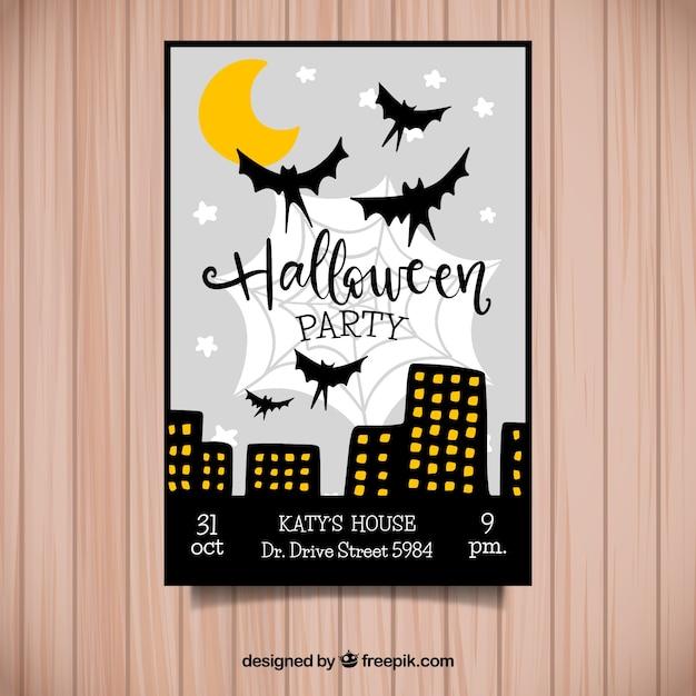 Halloween Party W Plakat Miasta Nocy Wektor Darmowe Pobieranie