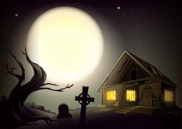 Halloween Ponury Nocny Krajobraz. Duży Księżyc W Pełni Na Niebie. Dom Z Okienkami, Drzewem I Cmentarzem Premium Wektorów
