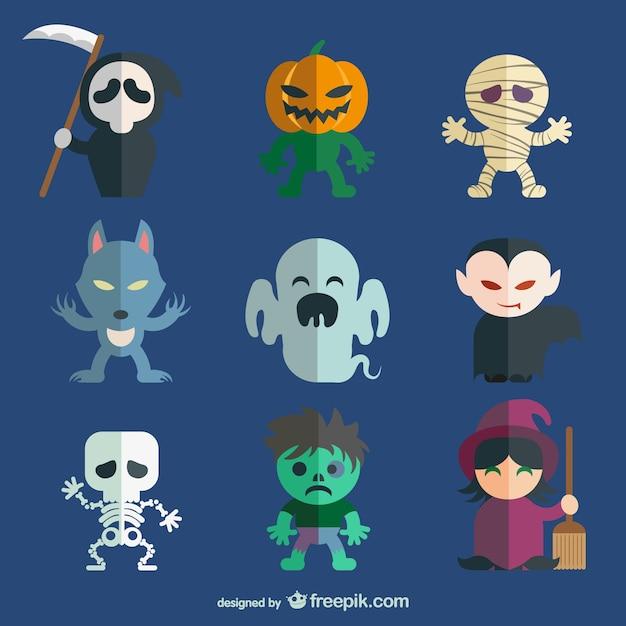 Halloween postaci pakietu Darmowych Wektorów