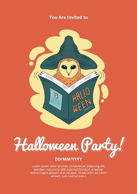Halloween Przyjęcie Z Zaproszeniem Z Ilustracją Sowa Wizzard Premium Wektorów