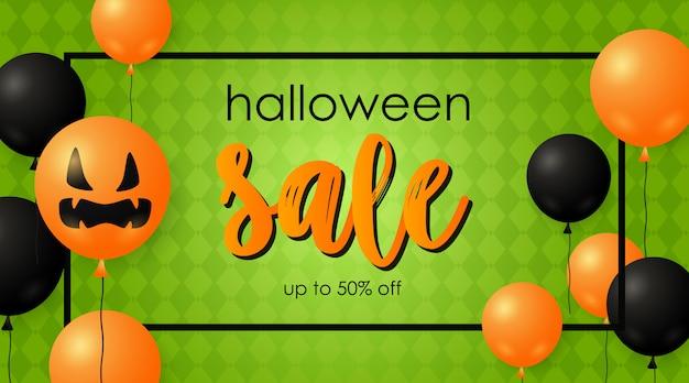 Halloween Sprzedaż Transparent I Dynie Balony Darmowych Wektorów