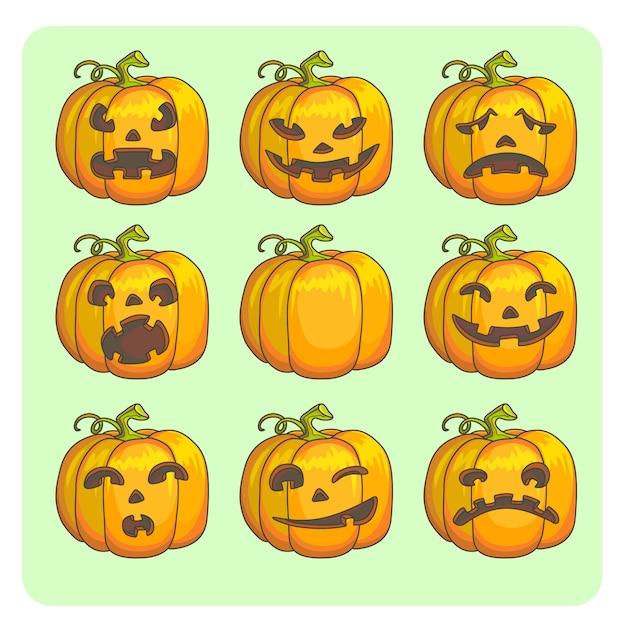 Halloween Straszne Dynie Zestaw Różnych Znaków. Ilustracja Wektorowa. Premium Wektorów