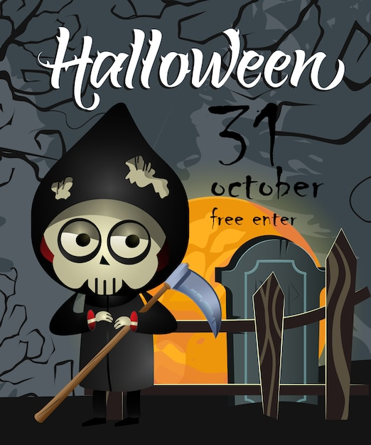 Halloween, trzydziestego października pierwsze pismo z ponurą żniwiarką Darmowych Wektorów