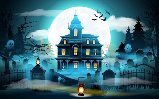 Halloween w tle Premium Wektorów