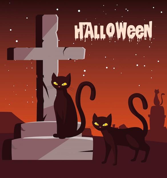 Halloween z kotami na cmentarzu Premium Wektorów