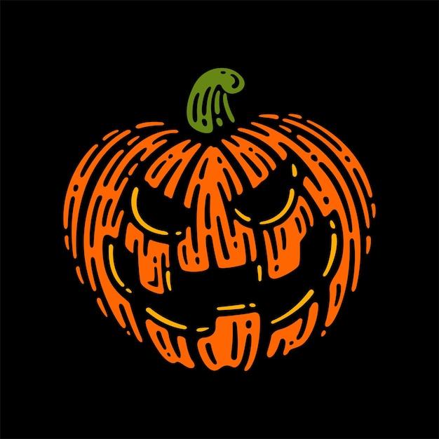 Halloweenowa Bania Na Ciemnym Tle. Ilustracji Wektorowych. Premium Wektorów