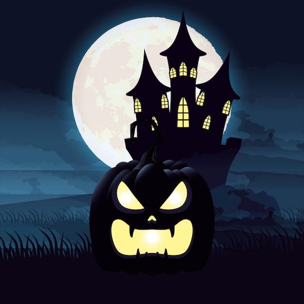Halloweenowa ciemnej nocy scena z banią i kasztelem Darmowych Wektorów