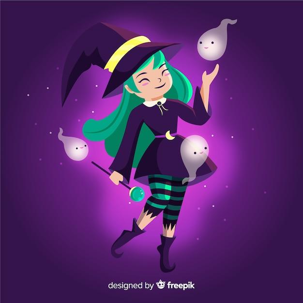 Halloweenowa czarownica z zielonymi włosami i uroczymi duchami Darmowych Wektorów