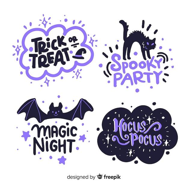 Halloweenowa Etykietki Kolekcja Na Białym Tle Premium Wektorów