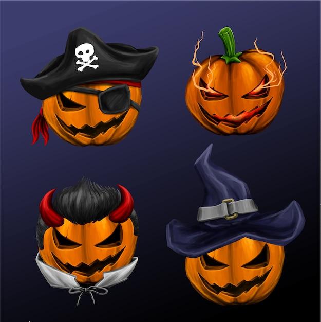 Halloweenowa głowa dyni z innym chłodnym charakterem Premium Wektorów